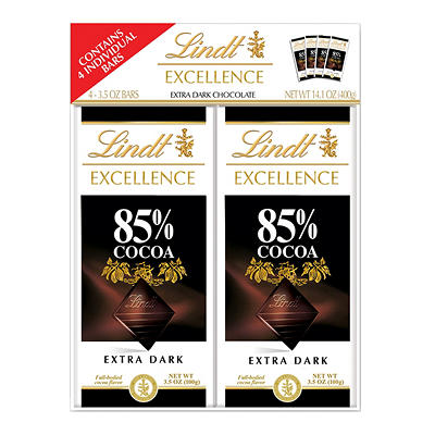 Lindt Excellence 85% Dark Chocolate & Intense Orange Dark Chocolate Ba