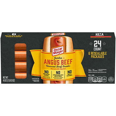 Oscar Mayer Premium Beef Jumbo Hot Dogs, 6 pk./45 oz.