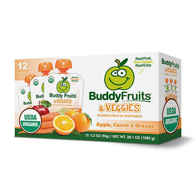Buddy Fruits Organic Veggie Fruit Pouches, 12 pk./3.2 oz.
