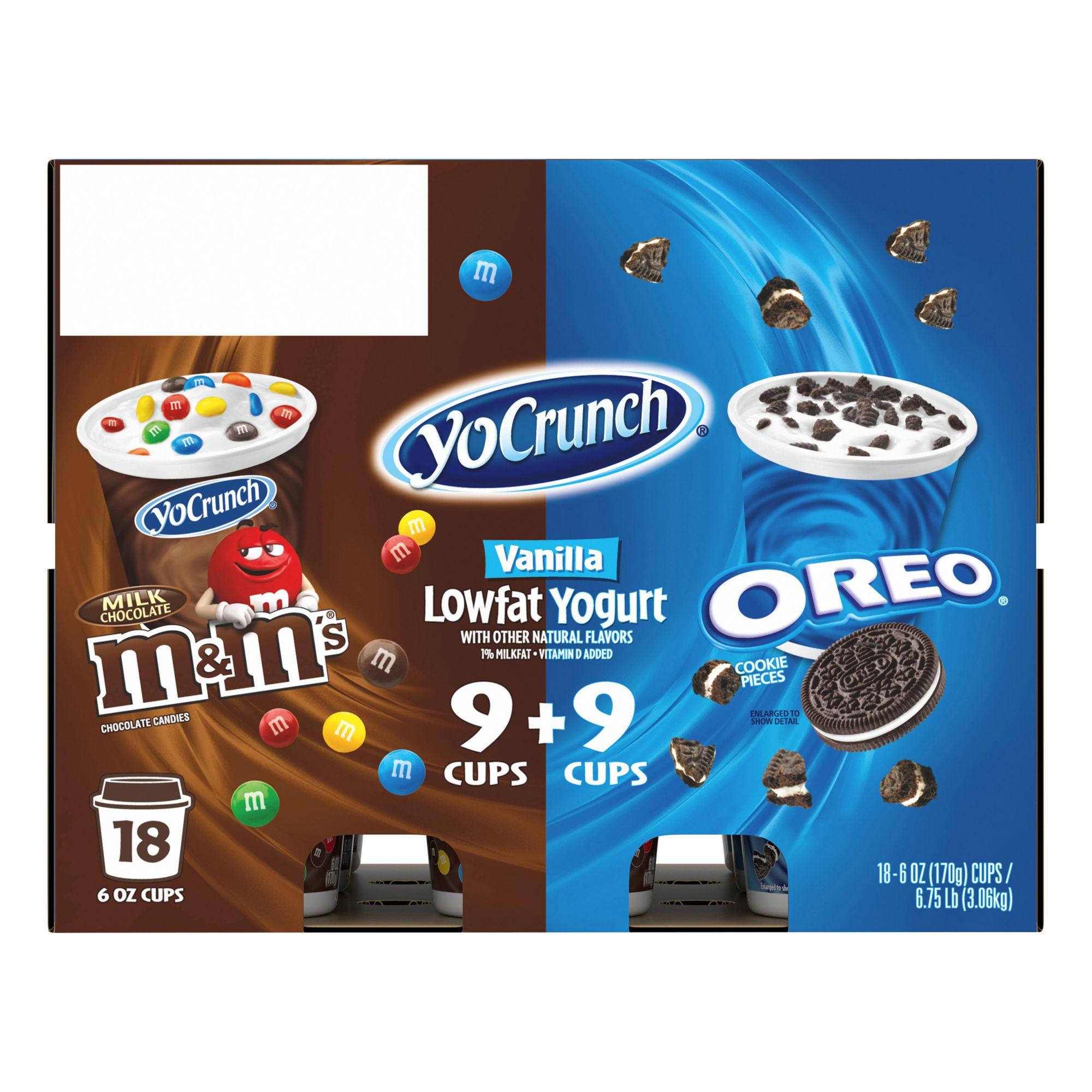Yocrunch vanilla yogurt with m m oreo variety pack pk oz