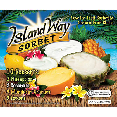 Island Way Low Fat Fruit Sorbet Variety Pack, 10 ct./3.47 fl. oz.