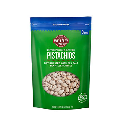 Wellsley Farms Roasted and Salted Pistachios, 40 oz.