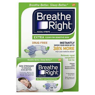 Breathe Right Extra Clear Nasal Strips, 44 ct.