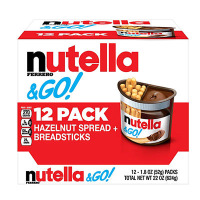 Ferrero Nutella & Go Hazelnut Spread with Breadsticks, 12 pk.