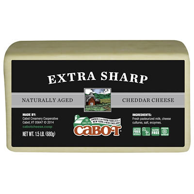 Cabot Creamery Extra Sharp Naturally Aged Cheddar Cheese, 1.5 lbs.