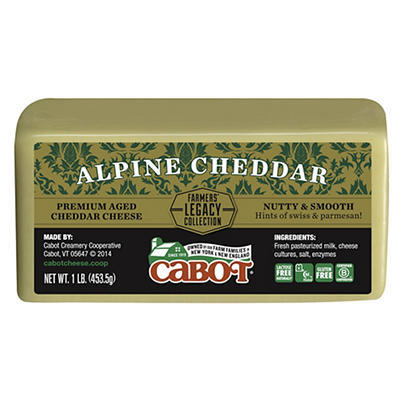 Cabot Premium Aged Alpine Cheddar Cheese, 1 lb.