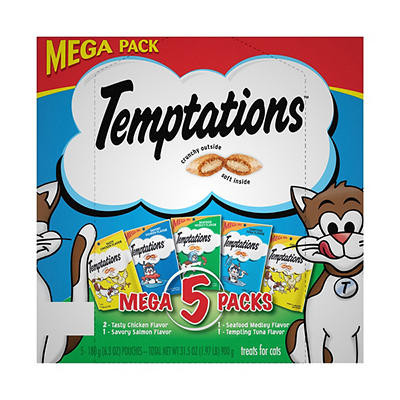 Whiskas Temptations Cat Treats Mega Pack, 5 ct./6.3 oz.