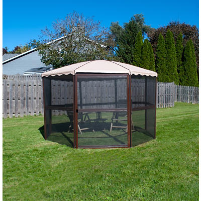 "Casita 11'1"" Round Screenhouse - Chestnut/Almond"