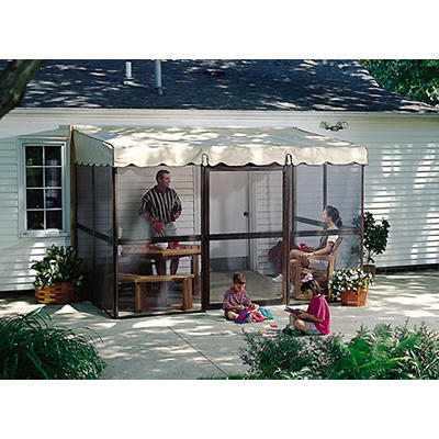"Patio-Mate 11'6"" x 7'8"" Screened Enclosure - Chestnut/Almond"