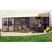 "Patio-Mate 19'3"" x 7'8"" Screened Enclosure - Chestnut/Almond"