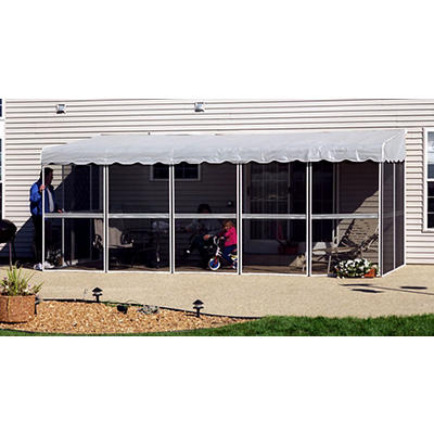 "Patio-Mate 19'3"" x 7'8"" Screened Enclosure - White/Gray"