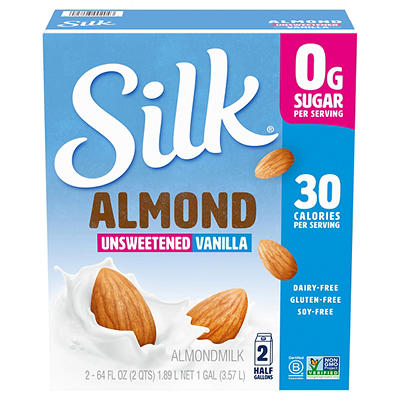 Silk Unsweetened Vanilla Almond Milk, 2 pk./64 oz.