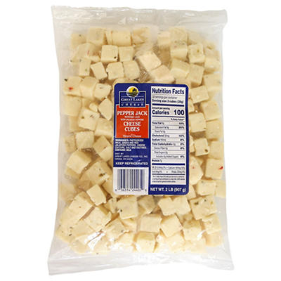 Great Lakes Pepper Jack Cheese Cubes, 2 lbs.