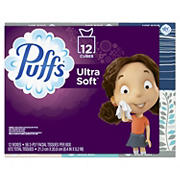 Puffs Ultra Soft & Strong 56-Sheet Facial Tissues, 12 pk.
