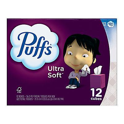 Puffs Ultra Soft & Strong 56-Sheet Facial Tissues, 12 pk.