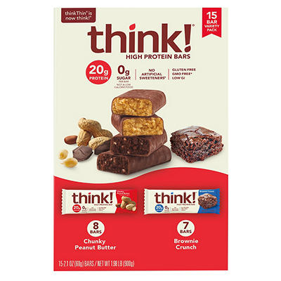 ThinkThin High Protein Bars Variety Pack, 15 ct.