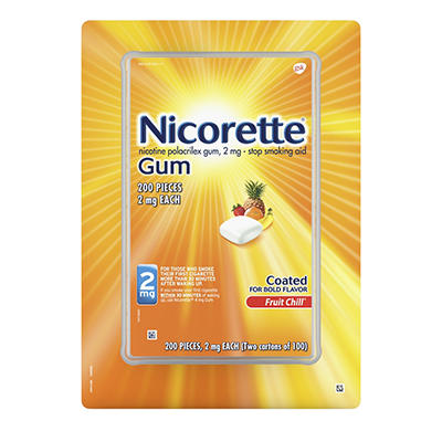Nicorette 2mg Fruit Chill Gum, 200 ct.