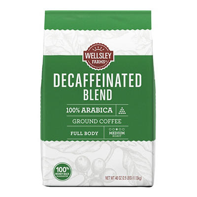 Wellsley Farms Decaffeinated Blend Ground Coffee, 40 oz.