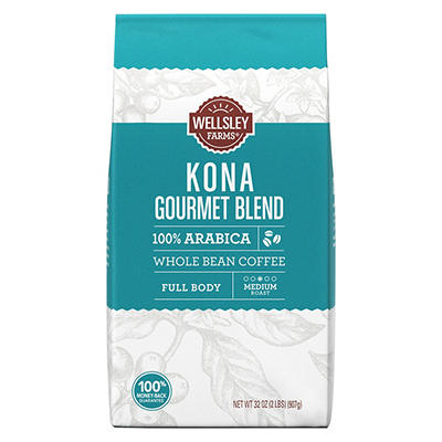 Wellsley Farms Kona Gourmet Blend Whole Bean Coffee, 32 oz.