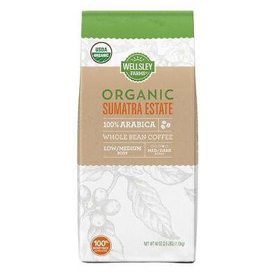 Wellsley Farms Organic Sumatra Estates Whole Bean Coffee, 40 oz.