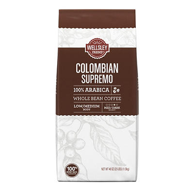 Wellsley Farms Colombian Whole Bean Coffee, 40 oz.