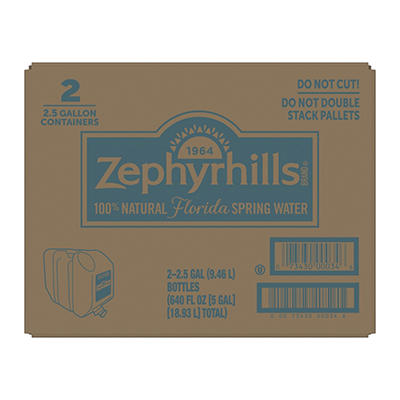 Zephyrhills 100% Natural Spring Water, 2.5 gal.