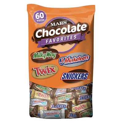Mars Fun-Size Chocolate Favorites Stand-Up Bag, 60 ct.