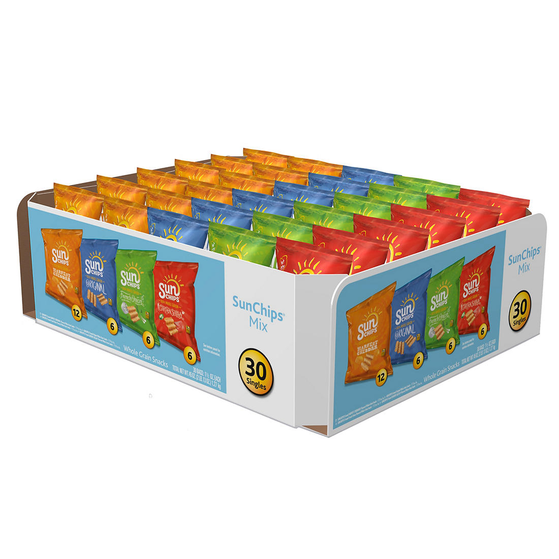 Frito Lay Sun Chips Whole Grain Variety Pack, 30 ct /1 5 oz