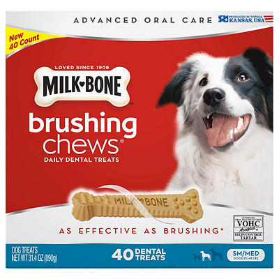 Milk-Bone Brushing Chews Daily Dental Treats, Small/Medium, 40 ct.