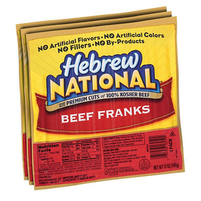 Hebrew National Beef Franks, 3 pk./12 oz.