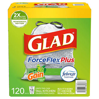 Glad ForceFlex 13-Gal. Tall Kitchen Bags with Gain Odorshield, 120 ct.