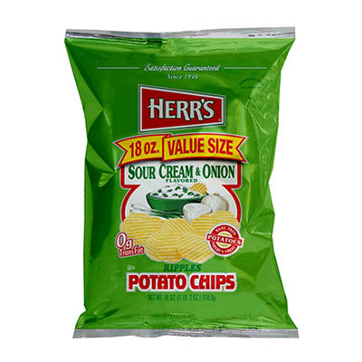 HERR'S Sour Cream & Onion Ripple Potato Chips, 18 oz.