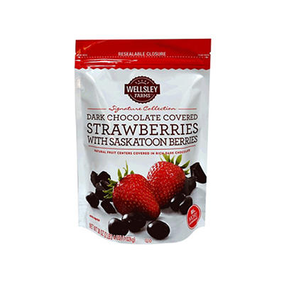 Wellsley Farms Dark Chocolate Strawberry with Saskatoon, 36 oz.
