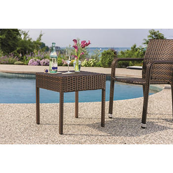 Berkley Jensen Wicker Patio Side Table Dark Brown
