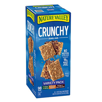 Nature Valley Crunchy Granola Bars Variety Pack, 2-Bar Pouches, 49 ct.