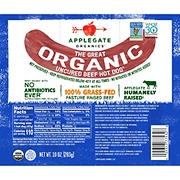 Applegate Organics Uncured Beef Hot Dogs, 20 oz.