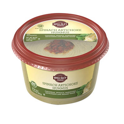 Wellsley Farms Signature Spinach and Artichoke Hummus, 30 oz.