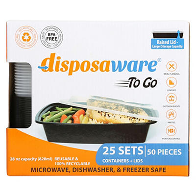 Disposaware Party Pack Takeout Containers, 25 ct.