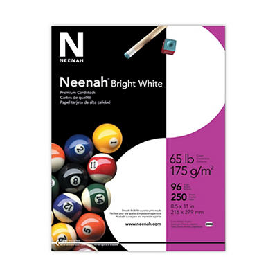 Neenah Cardstock Paper, 65-lb., Letter, 250 ct. - Bright White