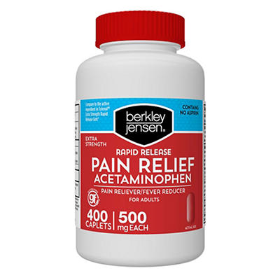 Berkley Jensen Rapid Release Extra Strength Acetaminophen Caplets, 400
