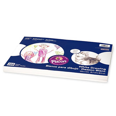 Pacon White Drawing Paper Pack, 200 Sheets