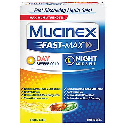 Mucinex Fast-Max Adult Day and Night Liquid Gel Caplets, 48 ct.