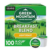 Green Mountain Coffee Roasters Breakfast Blend Light Roast Coffee Single-Serve K-Cup Pods, 100 ct.