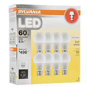 Sylvania 60W Equivalent LED A19 Lamp Light Bulb, 8 pk. - Soft White
