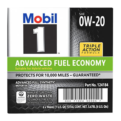 Mobil 1 0W-20 Advanced Full Synthetic Motor Oil, 6 pk./1 qt.