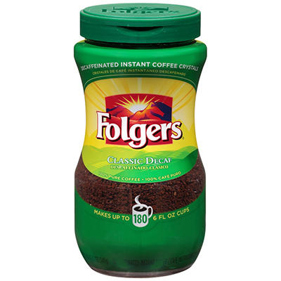 Folgers Instant Decaf Coffee, 12 oz.