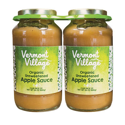 Vermont Village Organic Unsweetened Applesauce, 2 pk./24 oz.