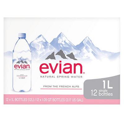 Evian Natural Spring Water, 12 pk./1L