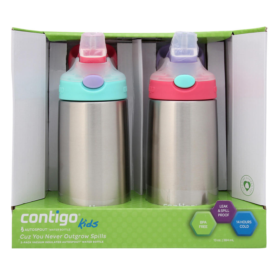 CONTIGO KIDS SPORTS STYLE WATER BOTTLES BPA FREE SPILL PROOF