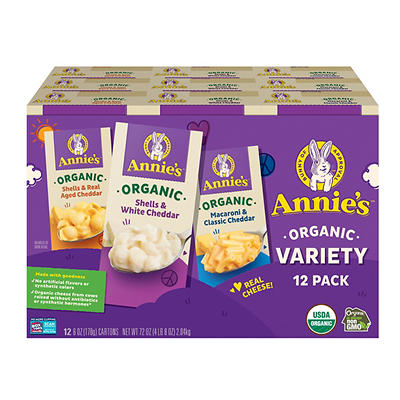 Annie's Homegrown Organic Macaroni and Cheese Variety Pack, 12 ct./6 o